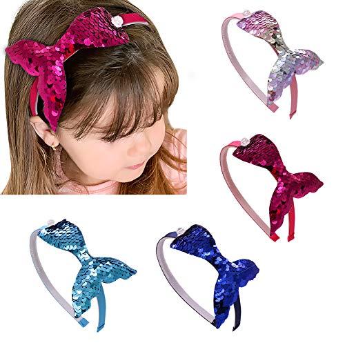 DEHUB Lot de 4 bandeaux de queue de sirène à sequins Shiny Cute pour cheveux de différentes couleurs pour filles pour la vie quotidienne, fête