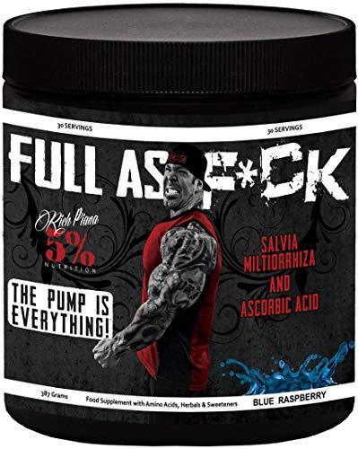 5% Nutrition - Rich Piana Full As F*ck (30 sers) Blue Raspberry Pack zonder statief, 387 g