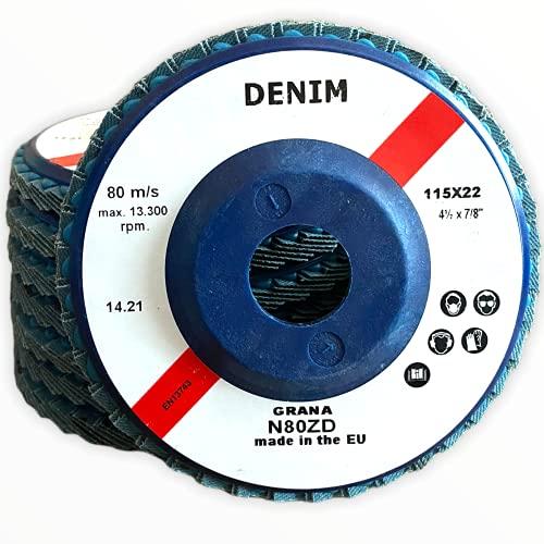 Dischi Lamellari Abrasivi Professionali per Smerigliatrice da 115 mm per Acciaio INOX Metallo Legno. Dischi a lamelle grana 40 | 60 | 80 | 120 (10, grana 80)