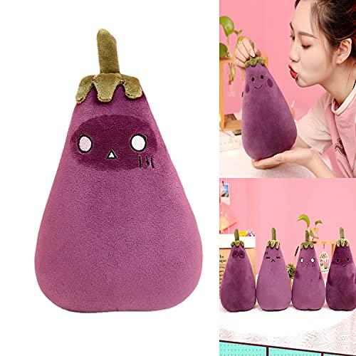 Xvfscev Eggplant Plush Toy, Purple Eggplant Plush Toy, Eggplant Cute Expression Stuffed Doll, Rich Facial Expression Eggplant Doll, for Kids Gift (B,50CM)
