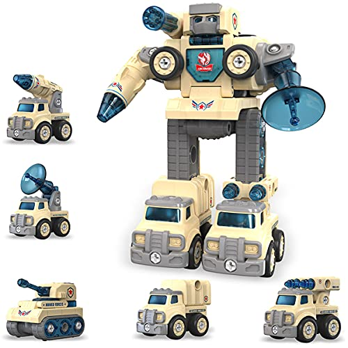 WODONGTECH 5 in 1 Take Apart Toy Vehicle Set, STEM Learning Cars Robot, Light and Sound Transformer, Great Gift for Boys & Girls 6 7 Years Old, Building Toys Ages 5+