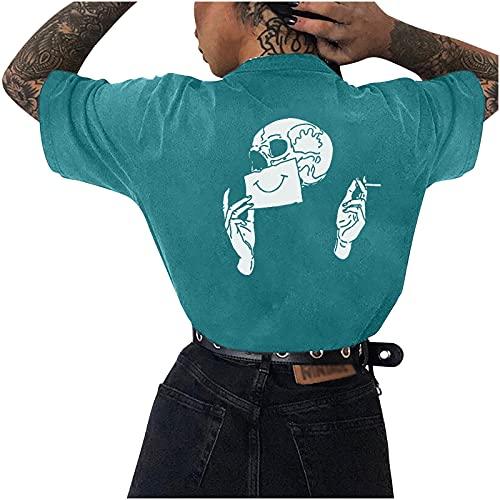 Camiseta de manga corta para mujer, diseño de esqueleto, camiseta deportiva de manga corta, estilo vintage, sudadera, blusa, cuello redondo, camiseta interior para adolescentes y niñas verde L