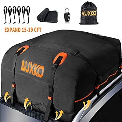 AUXKO Cargo Roof Bag Top Carrier, 15 Cubic Expands to 20 Cubic ft Waterproof Car Rooftop Carrier Travel Storage Luggage Bag Soft-Shell Fits All Vehicle with/Without Rack