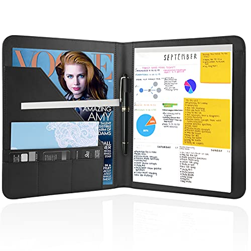 Jancosta 1 Pack Business Padfolio Portfolio with Letter Size Writing Notepads (New Black 1 Pack)