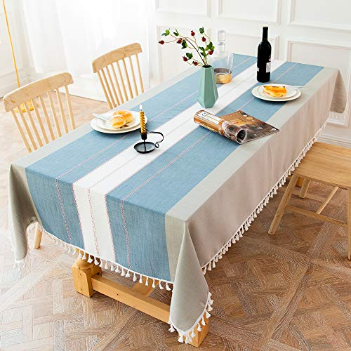 XIAOE Rectangular Home Decoration Wipe Clean Tablecloth Waterproof Polyester Washable Table Cover Wedding Outdoors Hotel Banquet Dining Table Living Room Restaurant 140 * 220cm