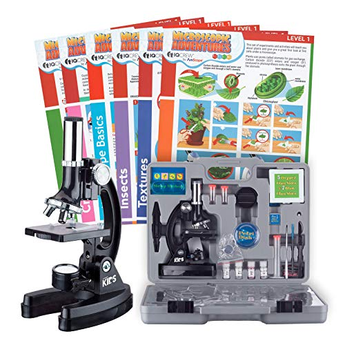 AmScope IQCrew Kids Microscope Science Starter Kit w/Set of 6 Experiment Cards