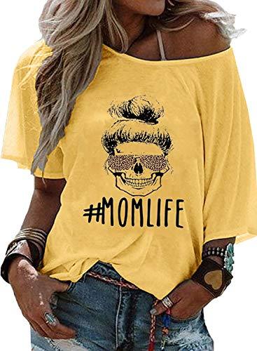 AlvaQ Damen Fledermaus-Shirt Explosive Letters #Momlife Bedruckt Kurzarm Rundhalsausschnitt Gr. X-Large, gelb