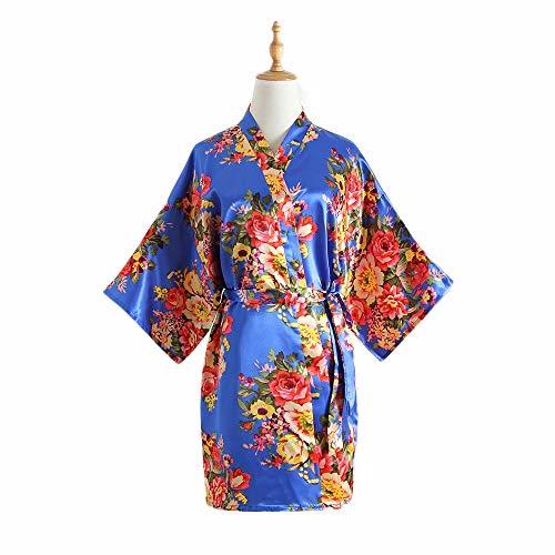 DEAR-JY Albornoz de la Boda,Bata de Noche, Bata, simulación de Novia/Dama de Honor de Verano Bata de Seda con Estampado de peonía Bata de Kimono Japonesa Corta,002
