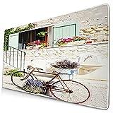 Nettes Mauspad ,Fahrrad Französisch Französisch Mittelmeer Ländlic,Rechteckiges rutschfestes Gummi-Mauspad für den Desktop, Gamer-Schreibtischmatte, 15,8 'x 29,5'