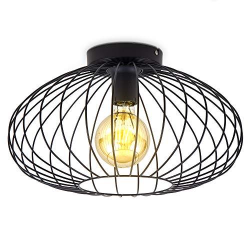 B.K.Licht I Draht-Deckenleuchte I 40 cm Durchmesser I E27 I 1-flammige Vintagelampe mit Metallschirm I Schwarz I ohne Leuchtmittel