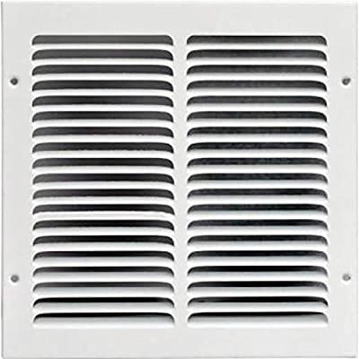"10""w X 10""h Steel Return Air Grilles - Sidewall and Ceiling - HVAC Duct Cover - White [Outer Dimensions: 11.75""w X 11.75""h]"