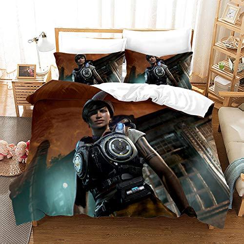 KIrSv Marcus Fenix Ropa de Cama con patrón Impreso en 3D, Familiares y Amigos,cómoda Funda nórdica y Funda de almohada-220x260cm(3pcs) 3