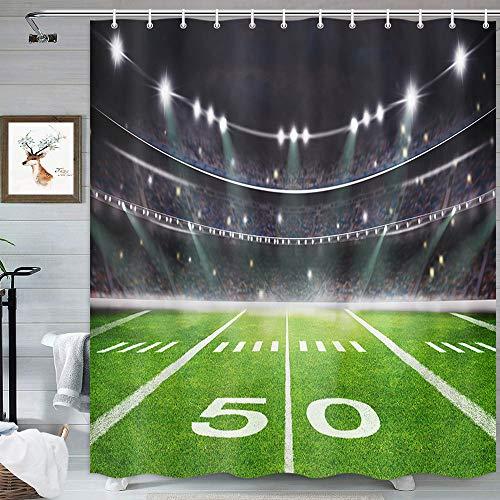 MERCHR Fußball Duschvorhang für Badezimmer, Sportstadion, ästhetisches Licht, Nachtfußball, Rasen, moderne Dekoration, Duschvorhang, grauer Stoff, Duschvorhang-Set mit Haken inklusive, 174 x 178 cm