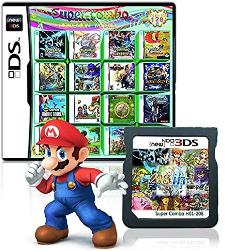 208 en 1 cartucho de juego multicart, tarjeta de juego compatible con Super Combo Nintendo DS/NDS/NDSL/NDSi/3DS/2DS XL/LL