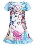 WonderBabe Mädchen Kinder Einhorn Nachthemd Einhörner Nachtkleid Regenbogen Rüsche Kurze Ärmel Nachtwäsche Nachtkleider Nachthemden
