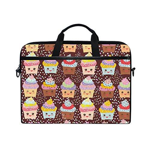 JSTEL Cupcake Kawaii Funny Laptop Shoulder Messenger Bag Case Sleeve for 14 inch to 15.6 inch with adjustable Notebook Shoulder Strap