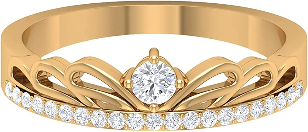 Solid Mail order 14K Gold SGL Fees free!! Certified Engagement Art Ring Diamond Crown