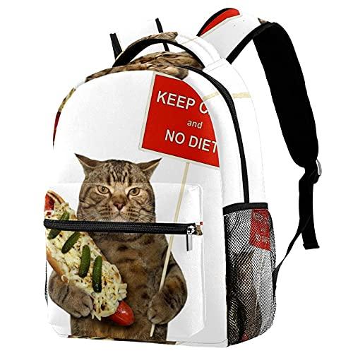FuJae Mochila de viaje grande Mochila para portátil Mantenga la calma y ningún gato de dieta. Mochila ligera de vacaciones