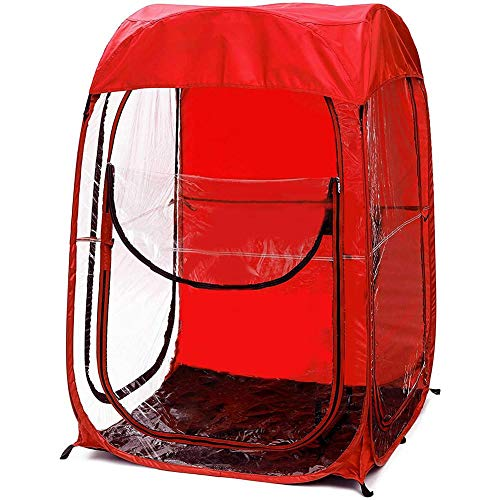 Pop-up Weather Pod Spectator Tent Canopy for Fishing Outdoor Sport Events Watching Tent Lightweight Portable Tent For Fishing All Weather Pod Football Pop-up 1 Person for Camping and Beach (RED)