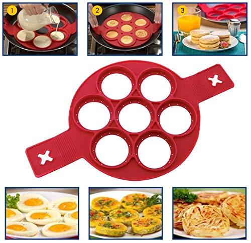Molde de silicona para panqueques, 7 círculos, reutilizable, antiadherente, para hacer panqueques, para cocina