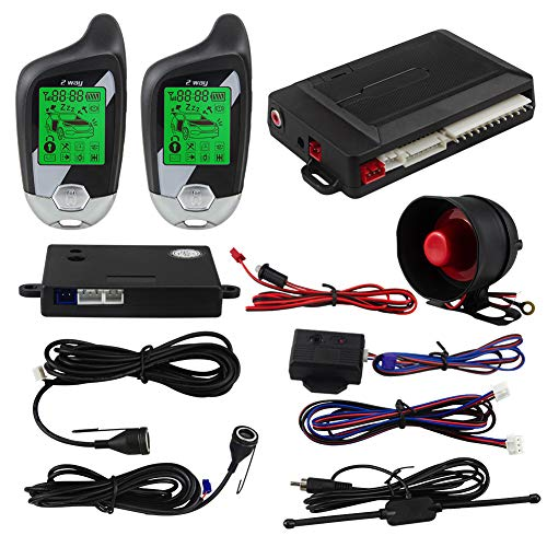 EASYGUARD EC203 2 Way car Alarm System with LCD Pager Display, ultrasonic Sensor & Shock Sensor DC12V