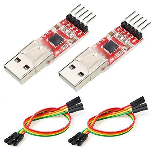 YXPCARS 2 unidades CP2102 convertidor USB a TTL de 5 pines descargable para UART STC 3.3 V y 5 V con cable jumper para Arduino