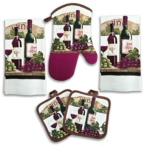 American Mills Wine Bottle Decor 5 Piece Printed Kitchen Linen Set Includes Towels Pot Holders Oven Mitt