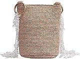 lndytq Nueva bolsa para mujer, cubo, papel, paja, unilateral, literario, bolsa para tejer hierba, versión coreana de la bolsa de mensajero salvaje-B