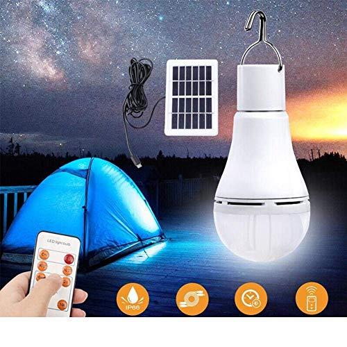 LIANA IRWIN 7W/9W Solar Glühbirne Mit Fernbedienung,Tragbare Solarlampe LED Licht Aufhängbar Lämpchen, Wasserdicht Vier Helligkeitsanpassungen für Outdoor Camping,Wandern,Angeln,Gartenhaus