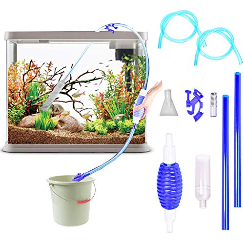 Lopbraa Gravel Cleaner Kits Fish Tank Aquarium Long Nozzle Cleaning Kit Tool Water Changer with Suction Head Valve Fixed Frame (9.8FT, Blue)