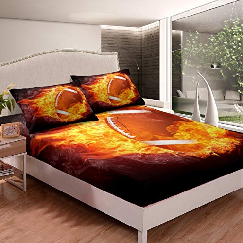 Loussiesd Boys Rugby Bedding Set Kids Sports Theme Fitted Sheet for Son Men 3D Burning American Football Bed Sheet Set Black Yellow Rugby Bed Cover Room Decor King Size