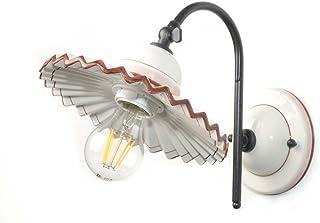 VANNI LAMPADARI - Lampada Da Parete art.001/372 In Ceramica Decorata A Mano Disponibile In 5 Finiture E Metallo Antracite