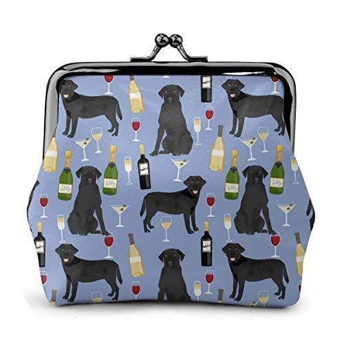 Labrador Retriever Schwarzer Hund Champagner Vintage Beutel Mädchen Kiss-Lock Geldbörse Geldbörse Schnalle Leder Münze Geldbörsen Schlüssel