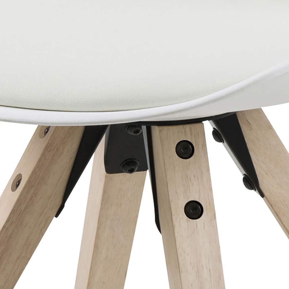 Marque Amazon - Movian Arendsee - Lot de 2chaises de salle à manger, 55 x 48,5 x 85 cm, Noir/ pieds en hévéa finition chêne huilé Blanc/Pieds en Hévéa
