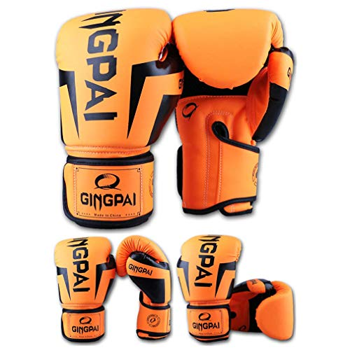 XYXZ Guantes De Boxeo MMA Adult Kick Boxing Gloves Muay Thai Training Fighting Hombres Mujeres Guante De Boxeo Grappling MMA Glove, Naranja, 8 Oz