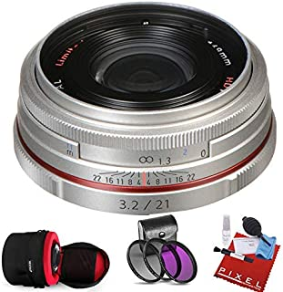 Pentax HD Pentax DA 21mm f/3.2 AL Limited Lens (Silver) with Heavy Duty Lens Case and Pro Filter Kit