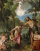 O Batismo de Cristo Rio Jordão São João Batista Luz do Espírito Santo Anjos 1580 Pintura de Paolo Veronese na Tela em Vários Tamanhos (100 cm X 80 cm tamanho da imagem)