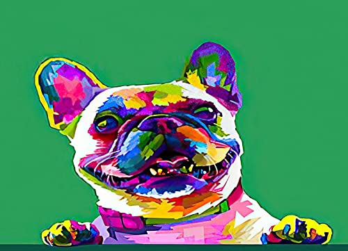 Diamond Painting Adult Painting Kits French Bulldog in Art Colors Green Home Bedroom Living Room Art Wall Decoration 16'x20'