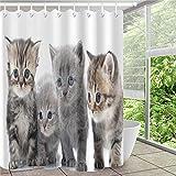 Duschvorhang, Katze, grau-braun, niedlich, schlicht, Badezimmervorhang, Dekoration, wasserdichter Stoff