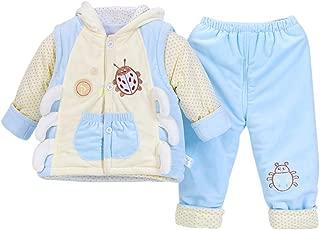 BOZEVON Newborn Baby Winter Hooded Vest & Tops & Trousers 3 Pcs Clothing Set