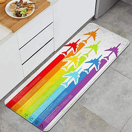 PANILUR Alfombras para Cocina Baño de Cocina,Viaje Viaje Volar Rainbow Airplanes Vuelo Aerolínea Comercial Aviación Avión Línea Avión Gráfico ala,para Dormitorio Baño Antideslizantes