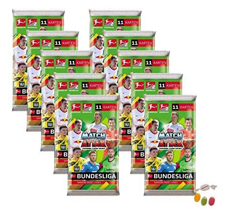 Topps Match Attax Bundesliga 2020/2021-10x Booster je 11 Cards zusätzlich 1 x Sticker-und-co Fruchtmix Bonbon