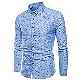 MORCHAN  Hommes Manches Longues Oxford Formel Costumes décontractés Coupe Slim t-Shirt habillé Chemisier Top(FR-54/CN-XL,Bleu)