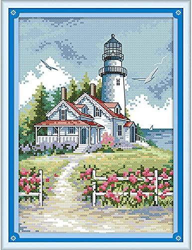 Maysurban Kit per Punto Croce Prestampato Punto Croce Fai da Te Kit da Ricamo Counted Cross Stitch Completo per Principianti Home Decor 27x39cm Torre Faro