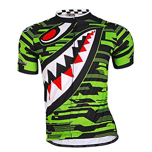 NUCKILY Men Cycling Jerseys Short Slevee Bike Shirts Breathable Tight-Fitting Sports Top