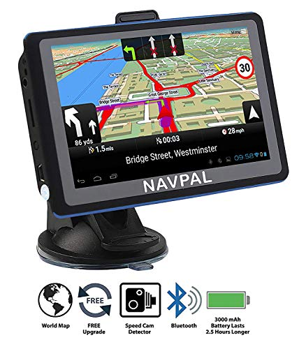 SLIMLINE SAT NAV, 5 Inch with Bluetooth + 2019 UK EUROPE [Pre-Installed] + FREE Lifetime Map Updates, GPS Navigation for Car Truck Motorhome Includes Postcodes, Speed Camera Alerts & POI