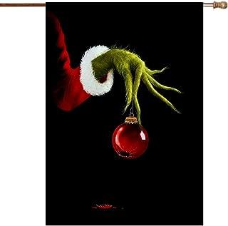 DUSH Grinch-mas Merry Christmas Broken Bell Garden Flags Durable Fade Resistant Banner Yard Outdoor Decor 28
