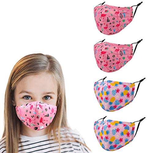 Washable Reusable Kids Face Mask , Flamingos Cute Funny Designer Breathable Cloth Cotton Madks Facemask for Girl Boy Children Toddler Gift mascarillas , Fabric Covering Adjustable Ear Loops Protection