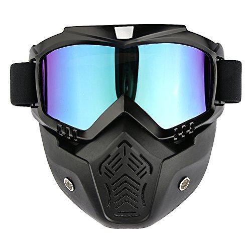 Motorradbrille Motorrad Staubschutz Schutzbrille Fliegerbrille Snowboardbrille Staubmaske Goggle Motocross Wind Schneebrille Skibrille Schutzmaske Mundschutz Bunt CE Zeichen