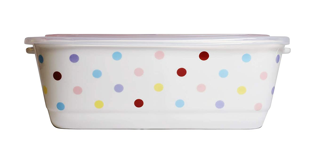 Microwavable Ceramic Bento Box Lunch Box Food Container With Seal Fine Porcelain Rectangular Shape With Dividers(RainbowDots)